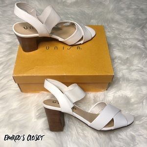 Unisa White Size 8.5 Faux Leather Heeled Sandals